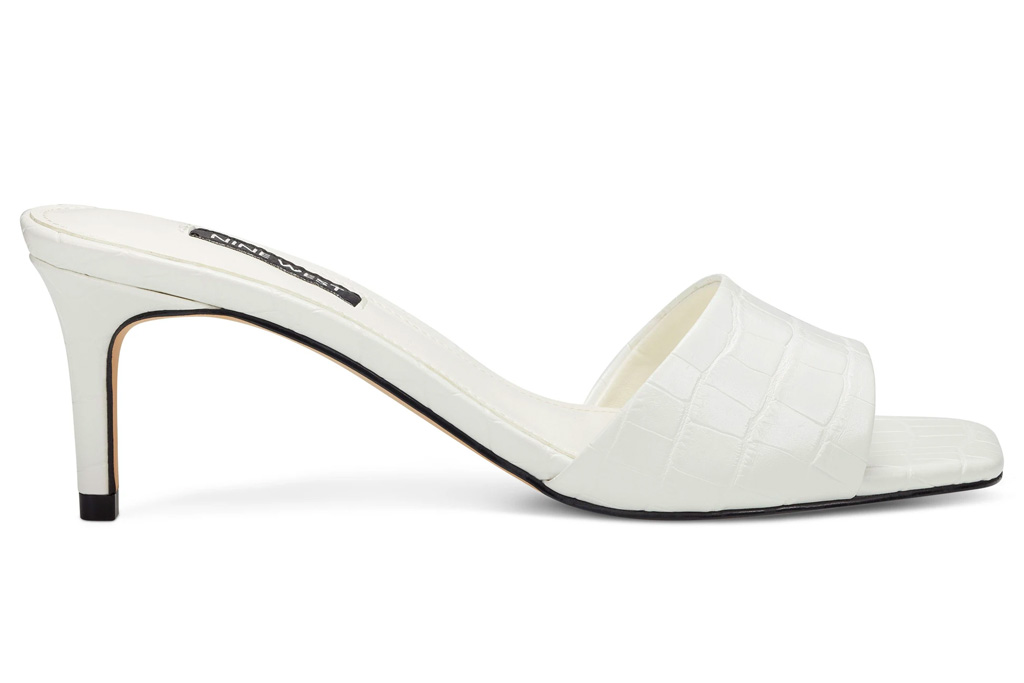 nine west, white mules, heels, sandals, square toe