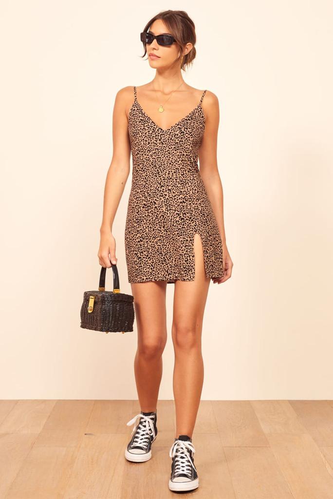reformation dress, marlow dress, leopard dress