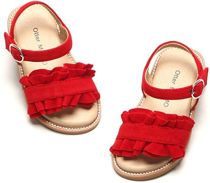 otter momo kids shoes, amazon kids, kids shoes, girls red sandals, eva chen, mom and me fashion, kids fashion, girls fashion