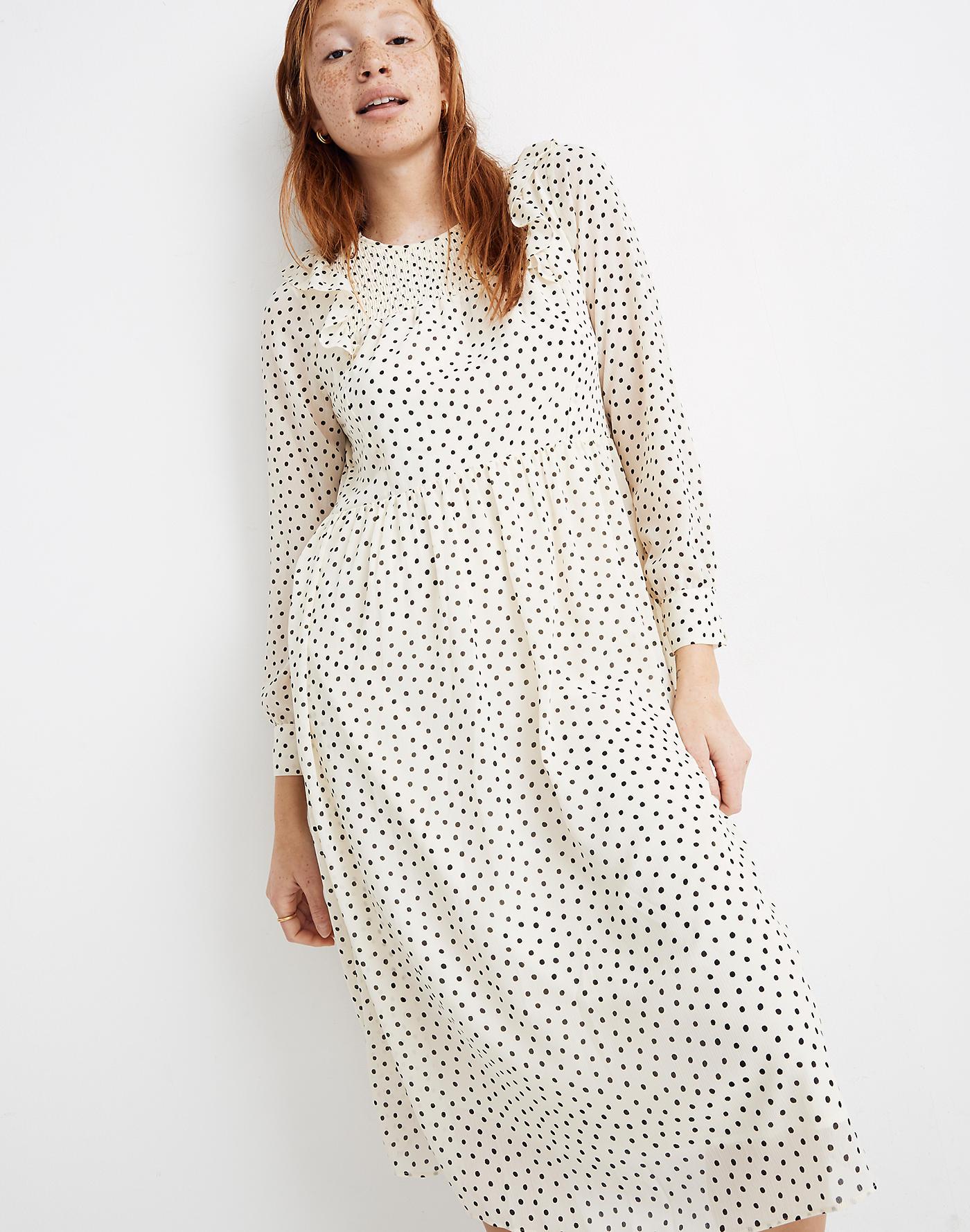 smock, polka dots