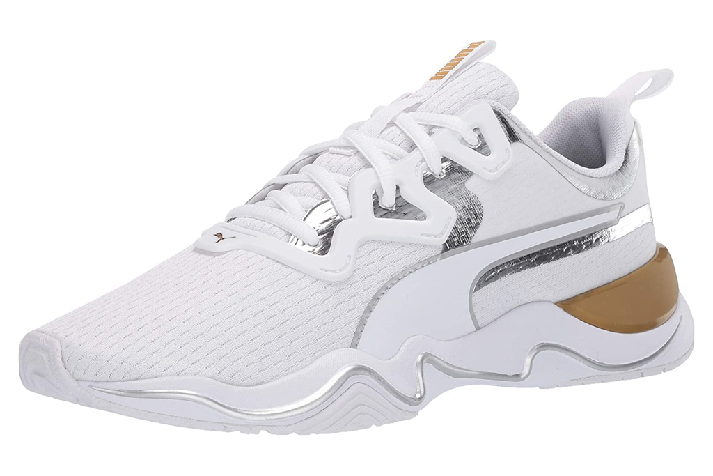 sneakers, white, gold, puma