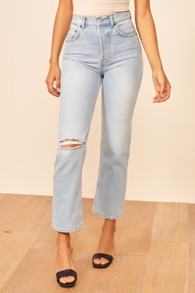 reformation jean, meghan markle inspired jeans, high crop jeans