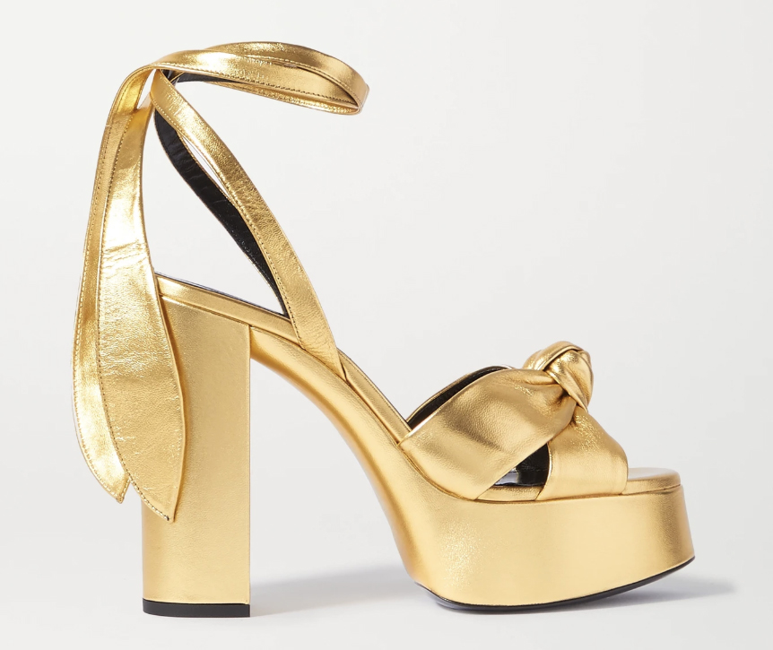 saint laurent, gold sandal, platform, knotted, tie, wrap
