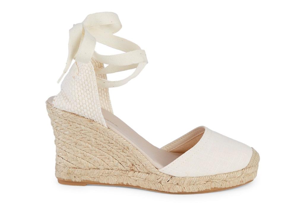 wedge, sandals, white, espadrille, tie, wrap, nude, platform, saks