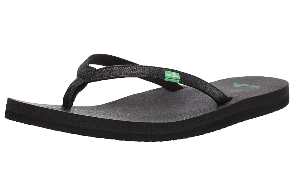 flip flops, black, sandals,  sanuk