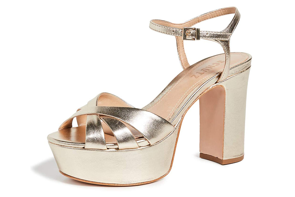 schutz, metallic, sandals, gold, platform, heel