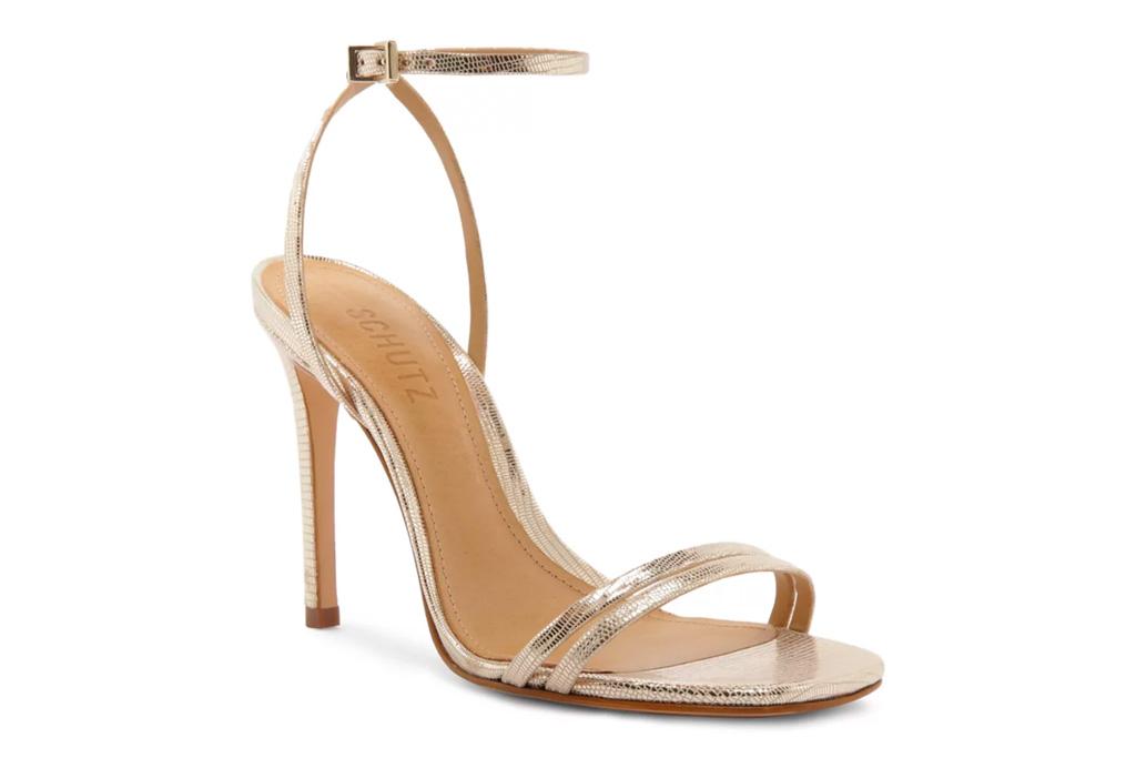 schutz,  gold sandals, heel, stiletto, metallic