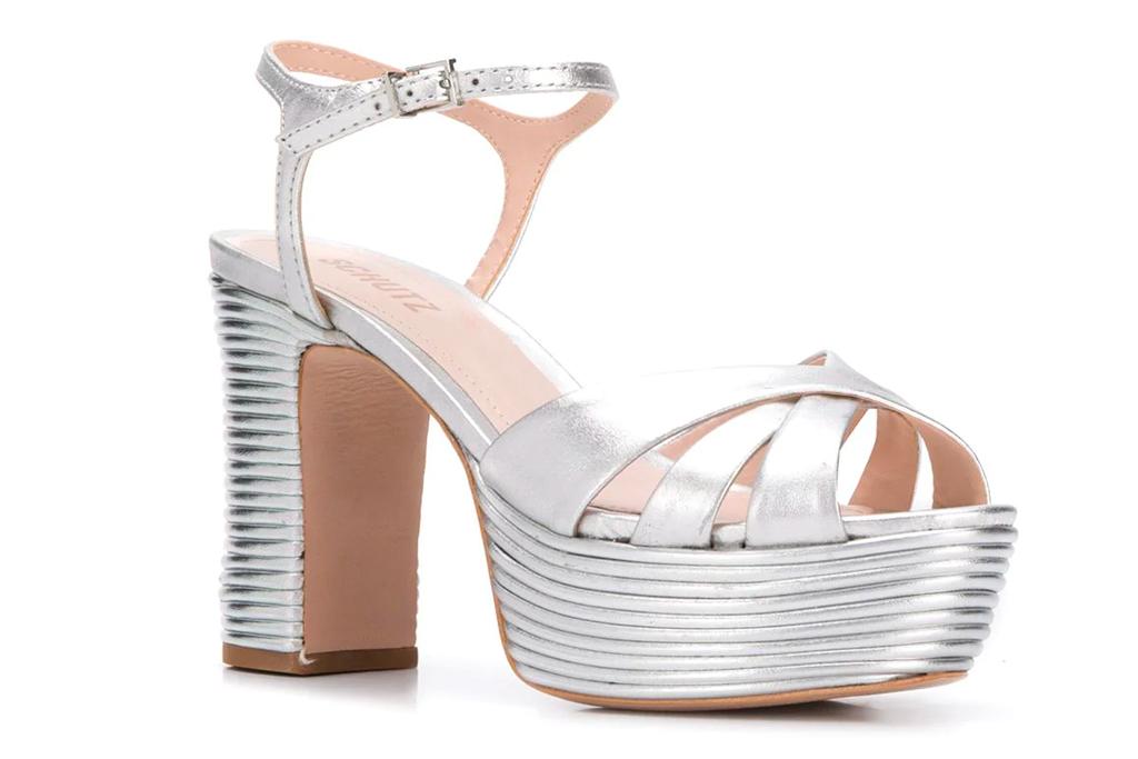 schutz, silver, sandals, platform