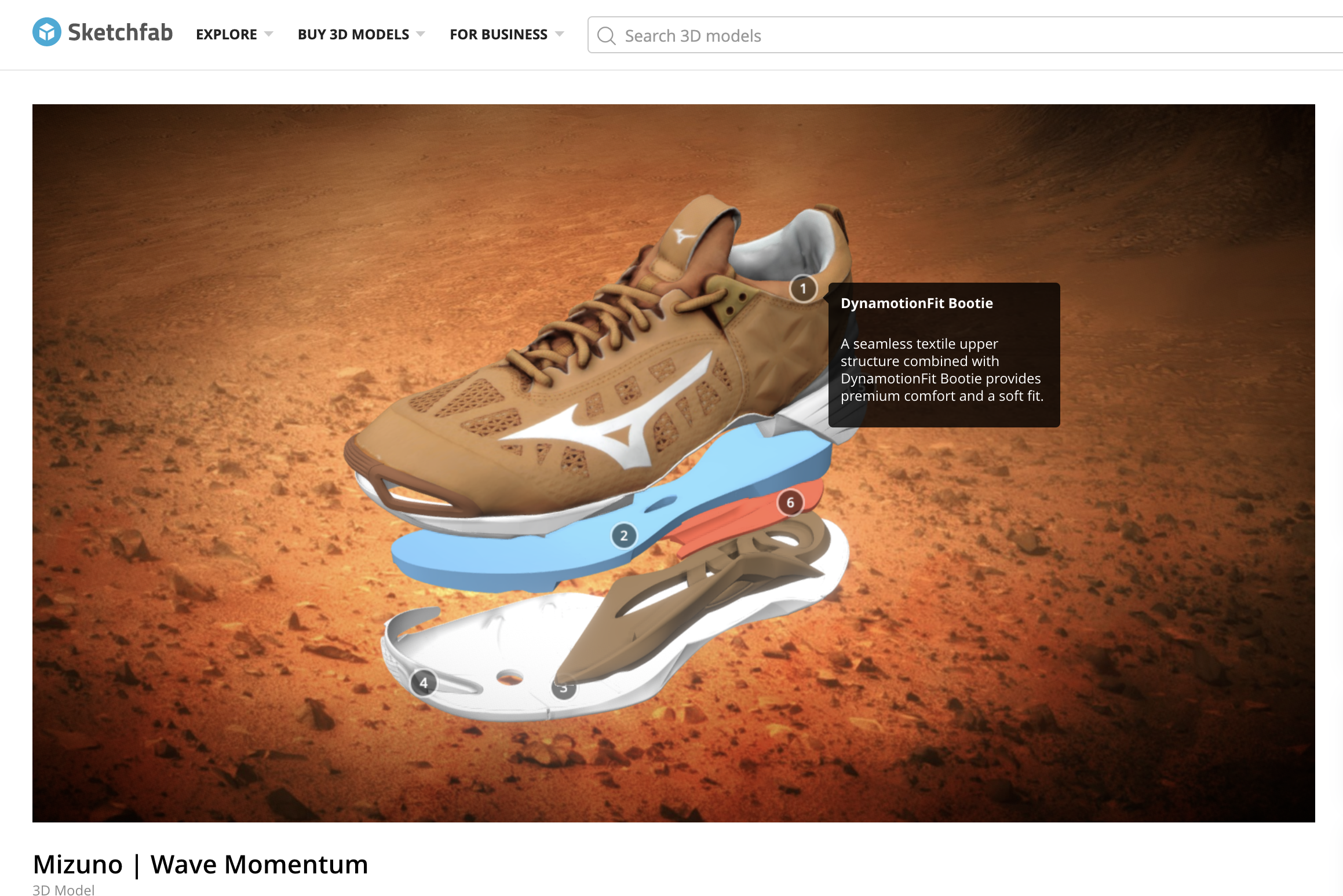 Screenshot of the Sketchfab platform being used for a 3D sneaker asset