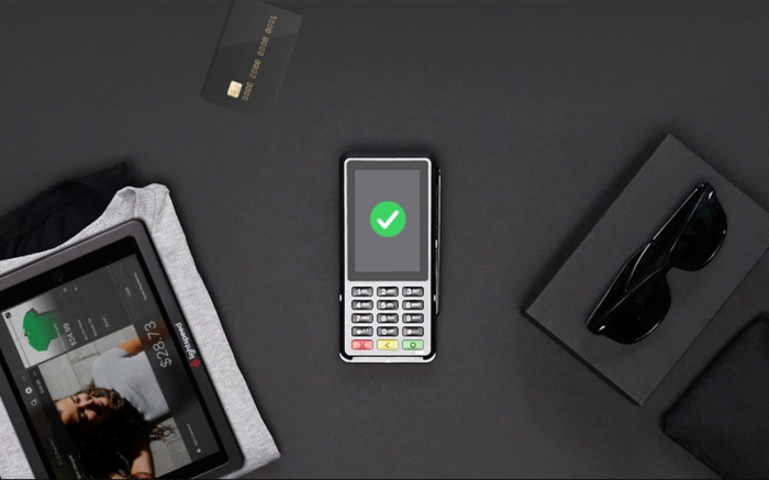 Flat lay of Lightspeed payment solutions technology mobile