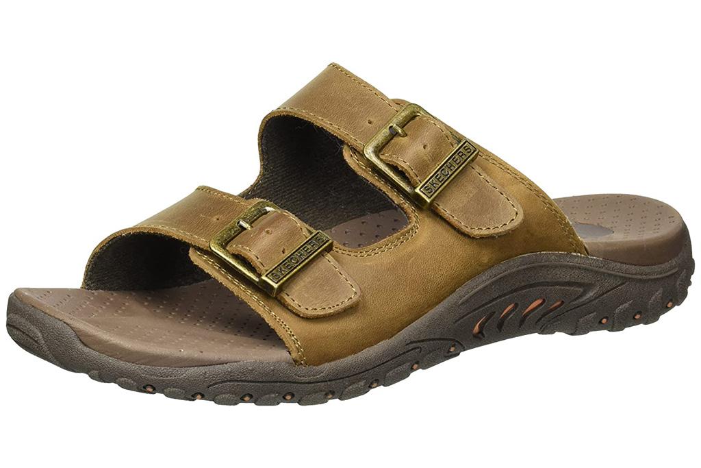 skechers, sandals, brown