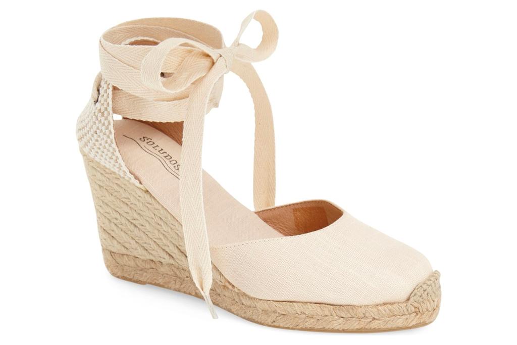 wedge, sandals, white, espadrille, tie, wrap, nude, platform, soludos