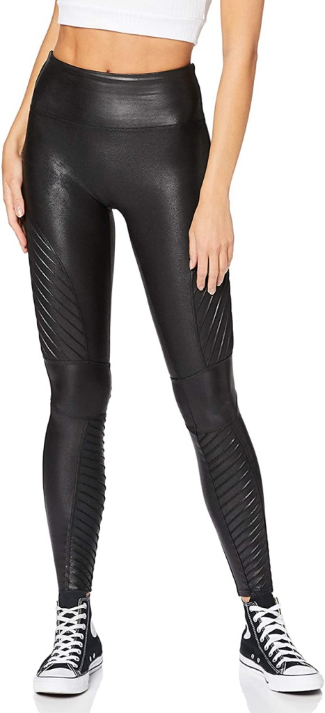 spanx, leggings, moto, black