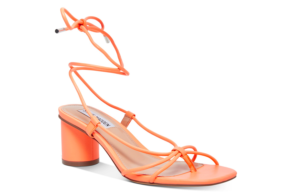 sandals, orange, heeled, thong-toe, steve madden