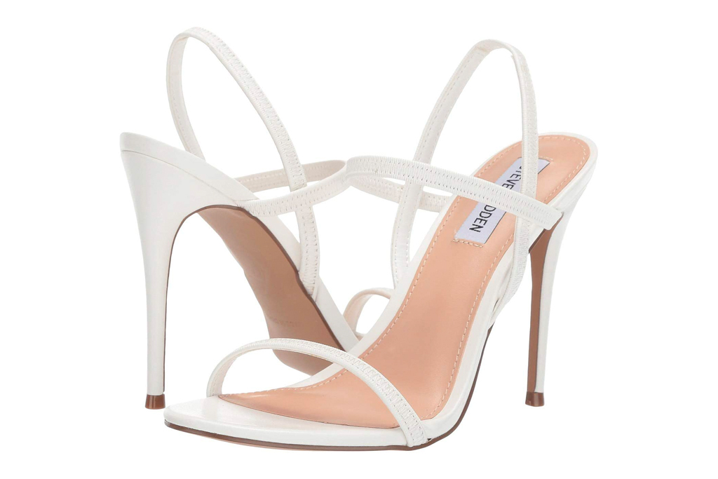 white sandals, heeled, stiletto, strappy, steve madden