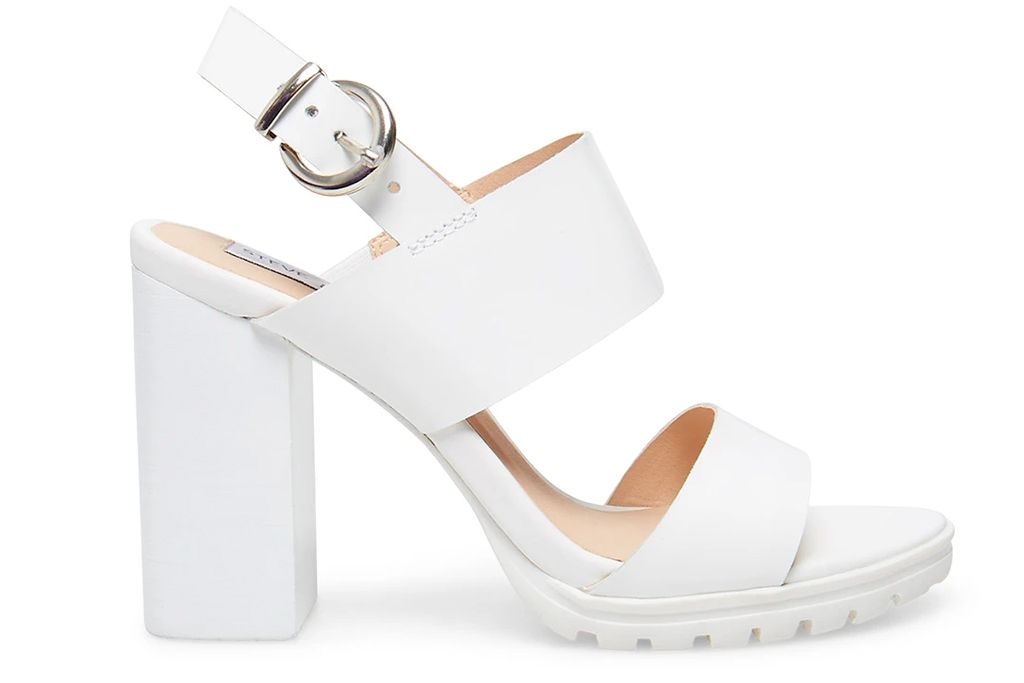 steve madden, white sandals, platform