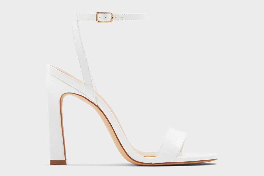 white sandals, heeled, stiletto, strappy, aldo