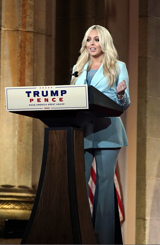 Tiffany Trump speaks as she tapes her speech for the second day of the Republican National Convention from the Andrew W. Mellon Auditorium in Washington, Tuesday, Aug. 25, 2020. (AP Photo/Susan Walsh)