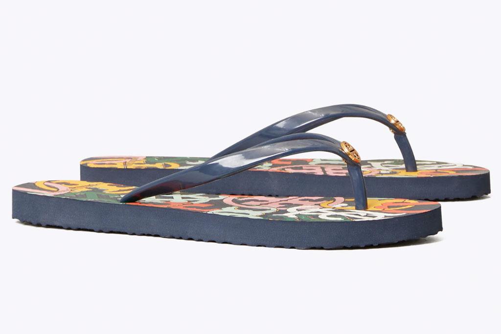 tory burch, flip flops, sandals, blue
