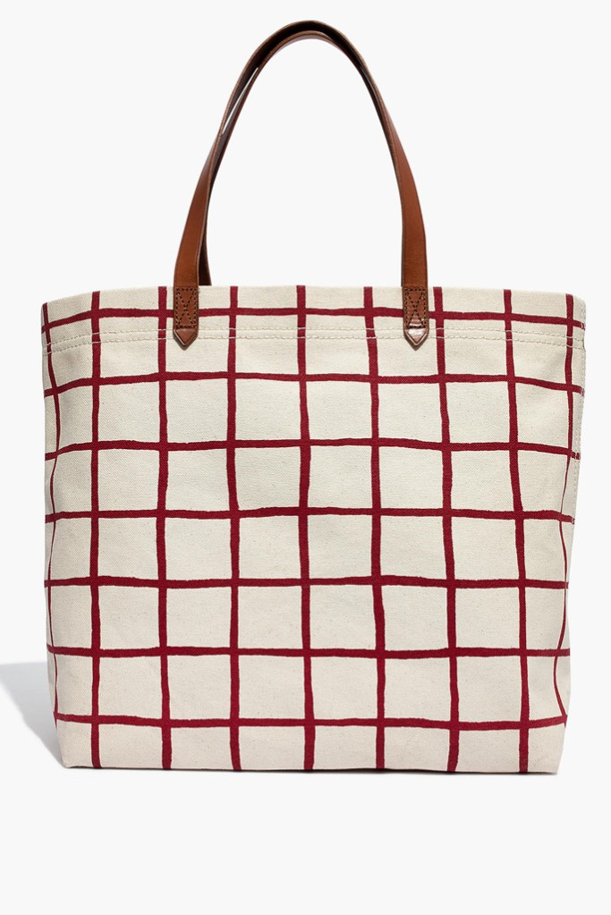 madewell tote bag, best tote bags, plaid tote bag