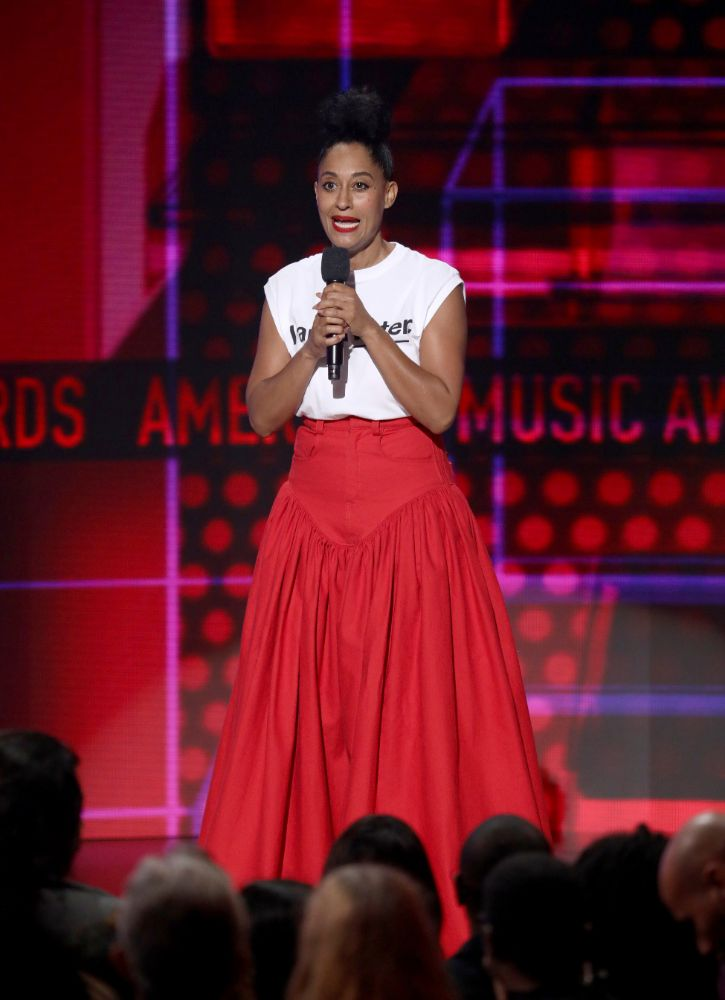 tracee ellis ross, american music awards, style, dress, heels, 2018, 2017, host