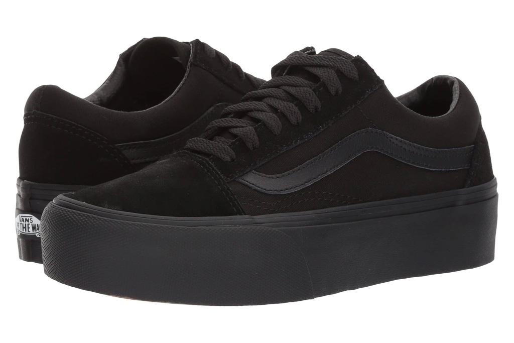 black sneakers, low top, womens, vans