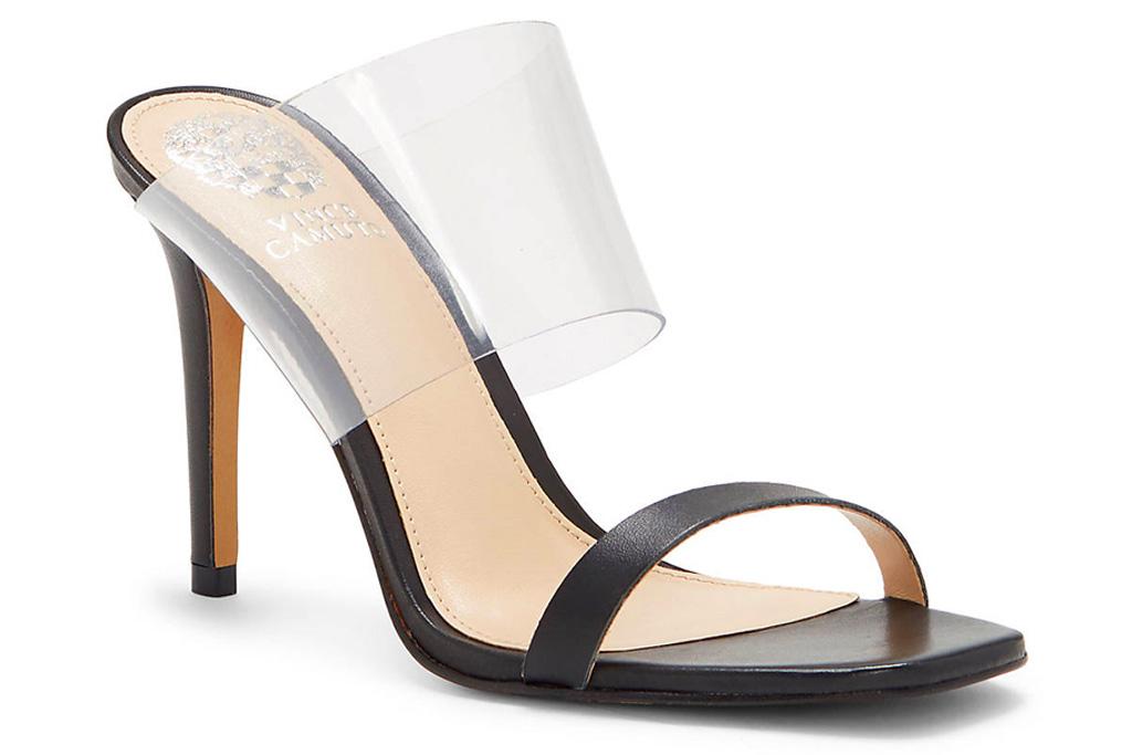heels, black, pvc, mules, vince camuto
