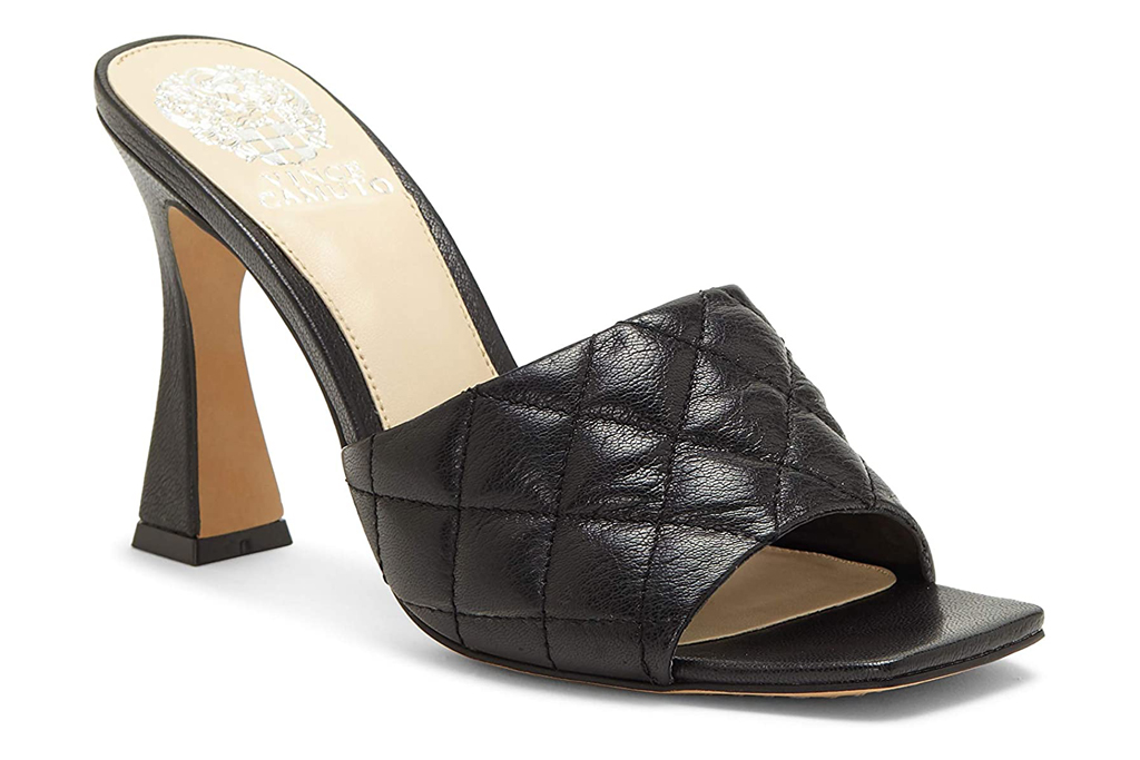black, square toe, heels, mules, open toe, vince camuto
