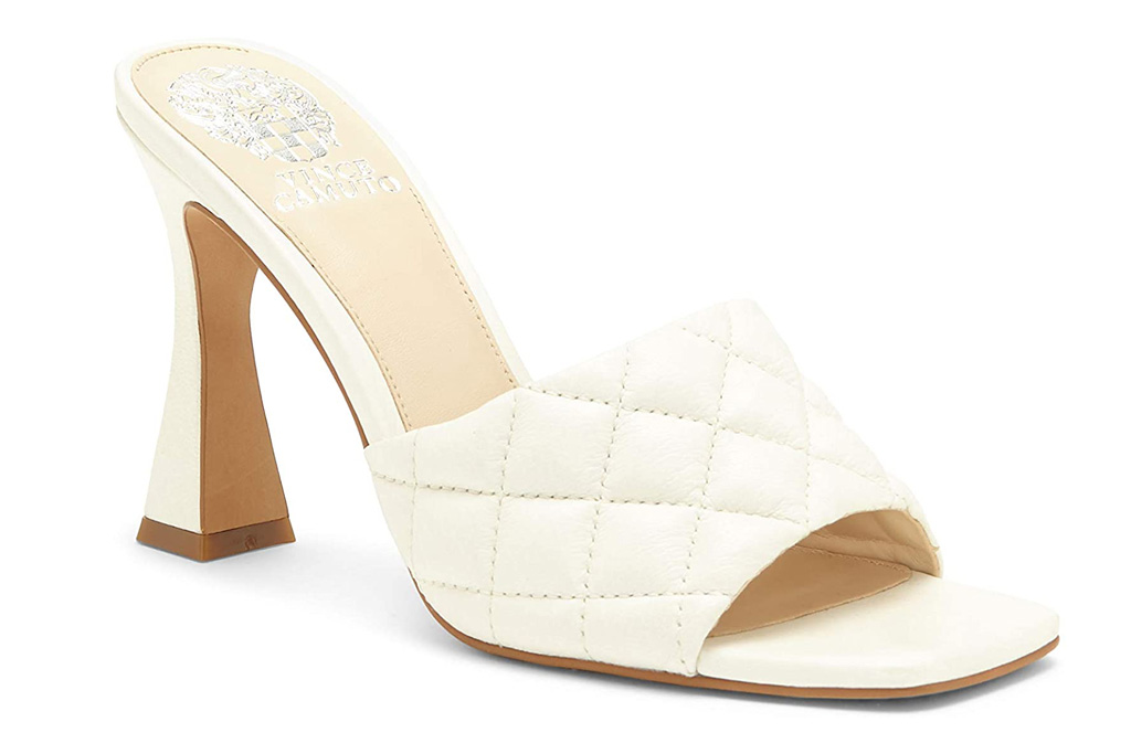 vince camuto, white mules, heels, sandals, square toe