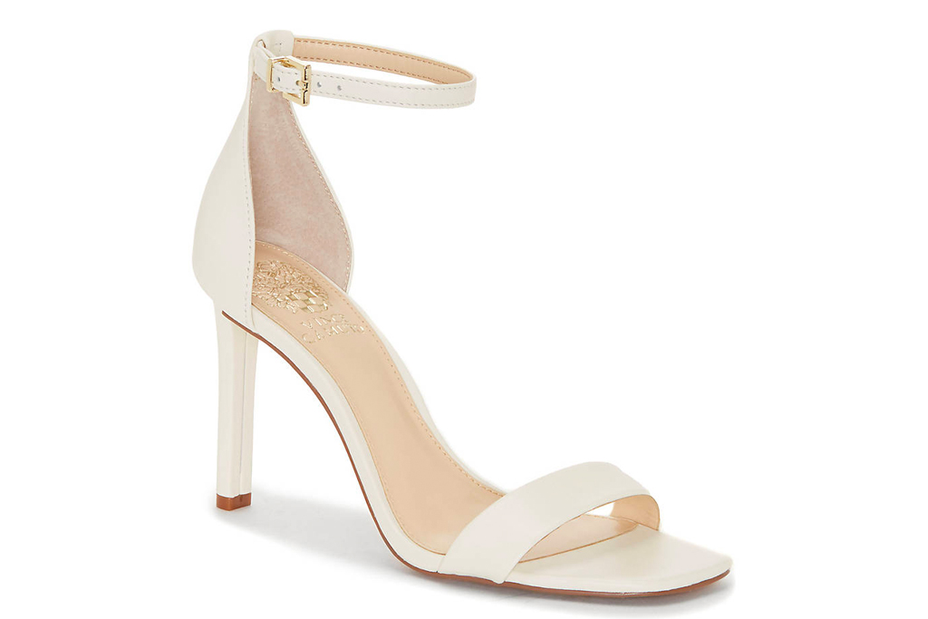white sandals, heeled, stiletto, strappy, vince camuto