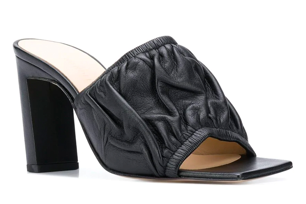 wandler, mules, sandals, black, square toe