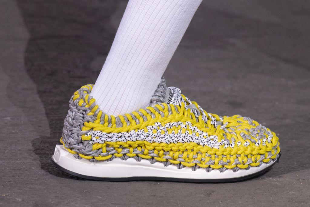 valentino crochet sneaker, crochet shoes, luxury sneakers, spring 21, yellow sneakers