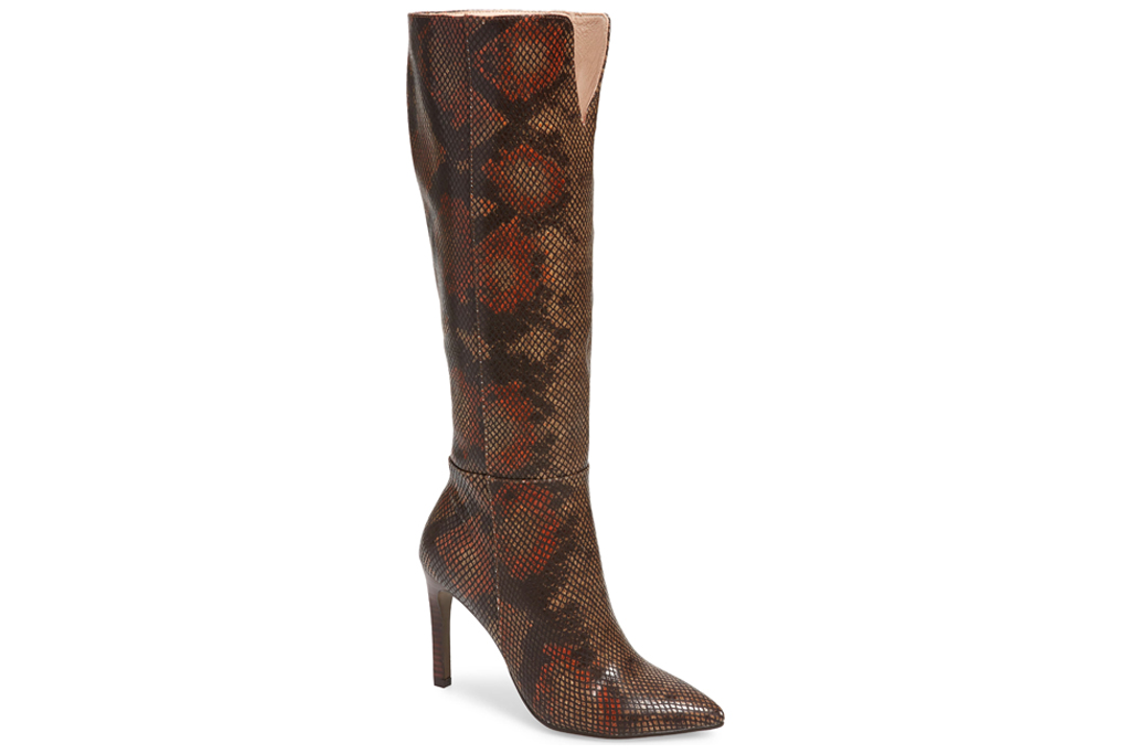 boots, snakeskin, brown, knee-high, heeled, 42 gold