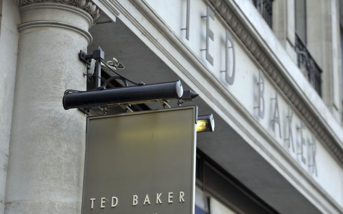 Ted Baker investigation. File photo dated 06/01/16 shop sign for Ted Baker in central London. Ted Baker was chastised by the Methodist Church over the controversy surrounding boss Ray Kelvin, who was forced to take a leave of absence amid allegations of harassment. Issue date: Wednesday January 2, 2019. See PA story CITY TedBaker. Photo credit should read: Nick Ansell/PA Wire URN:40433865 (Press Association via AP Images)