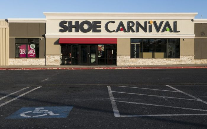A logo sign outside of a Shoe Carnival retail store location in Harrisburg, Pennsylvania on February 9, 2019. (Photo by Kristoffer Tripplaar/Sipa USA)(Sipa via AP Images)