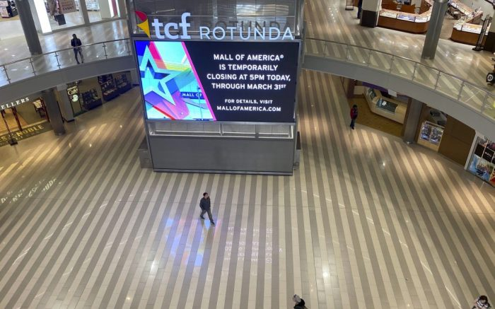 The Mall of America is largely empty after announcing it is closing temporarily because of the coronavirus outbreak, Tuesday, March 17, 2020, in Bloomington, Minn. (Star Tribune via AP)