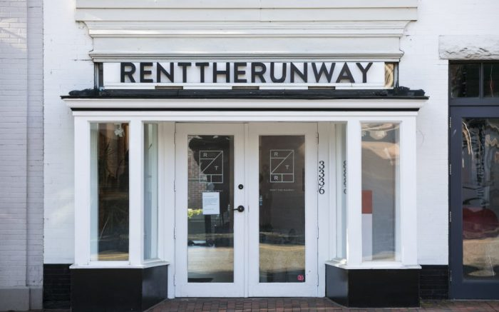 A logo sign outside of a Rent the Runway retail store location in Washington, D.C., on May 9, 2020. (Photo by Kristoffer Tripplaar/Sipa USA)(Sipa via AP Images)