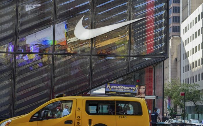 Photo by: John Nacion/STAR MAX/IPx 2020 8/6/20 A view of a Nike Store along 5th Ave. Nike eyes 500 layoffs at Oregon HQ. New York City continues Phase 4 of re-opening following restrictions imposed to slow the spread of the coronavirus on August 6, 2020 in New York City. The fourth phase allows outdoor arts and entertainment, sporting events without fans and media production.