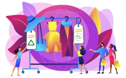 Illustration graphic of sustainable fashion shopping