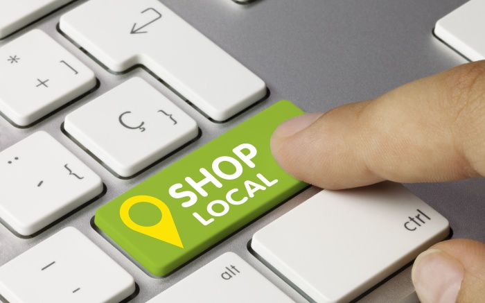Keyboard showing shop local button for e-commerce