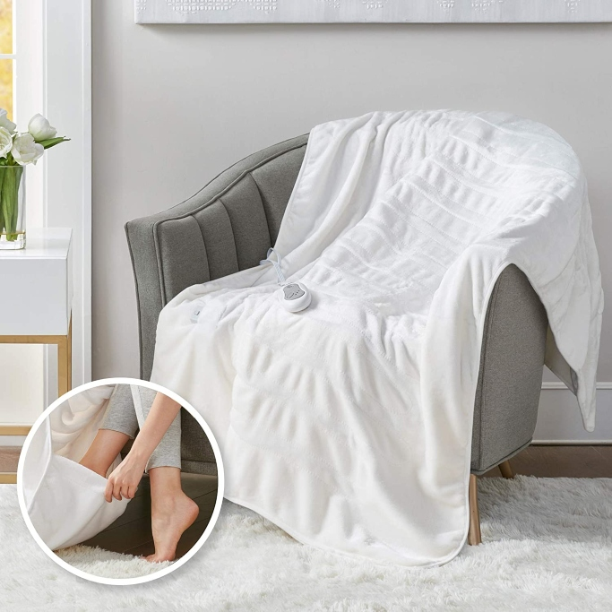 Degrees of Comfort Heated Throw Blanket With Foot Pocket