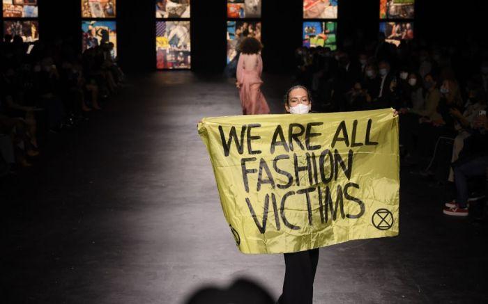 christian dior, dior, dior show, dior spring 2021, dior show protestor, pfw, paris fashion week, dior paris fashion week