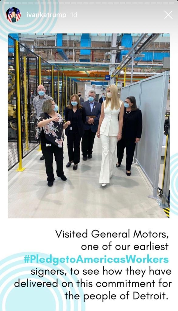 ivanka trump, white, pants, shirt, shoes, general motors, gm, detroit, suit, style, shoes