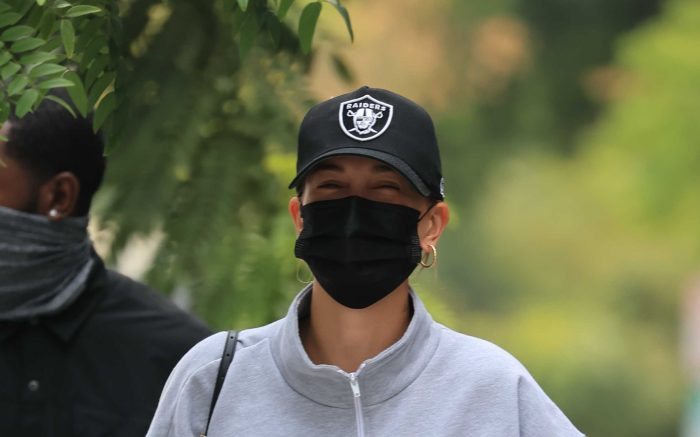 Hailey Bieber seen leaving the gym with Justine Skye