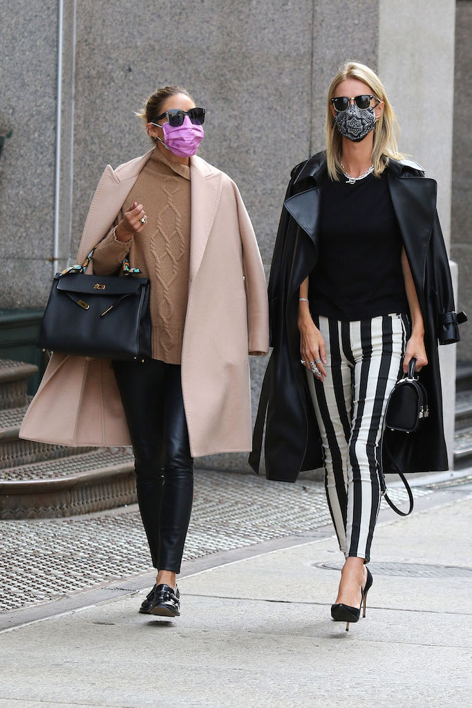 "Nicky Hilton and Olivia Palermo make the streets of Soho look super stylish after having lunch together at ""Sant Ambroeus"" restaurant in Downtown Manhattan. 16 Sep 2020 Pictured: Nicky Hilton and Olivia Palermo. Photo credit: LRNYC / MEGA TheMegaAgency.com +1 888 505 6342 (Mega Agency TagID: MEGA700883_009.jpg) [Photo via Mega Agency]"