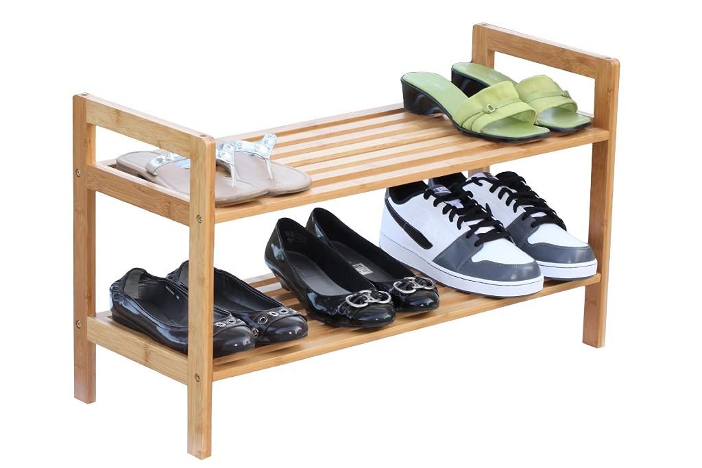 Oceanstar 2-Tier Bamboo Stackable Shoe Rack