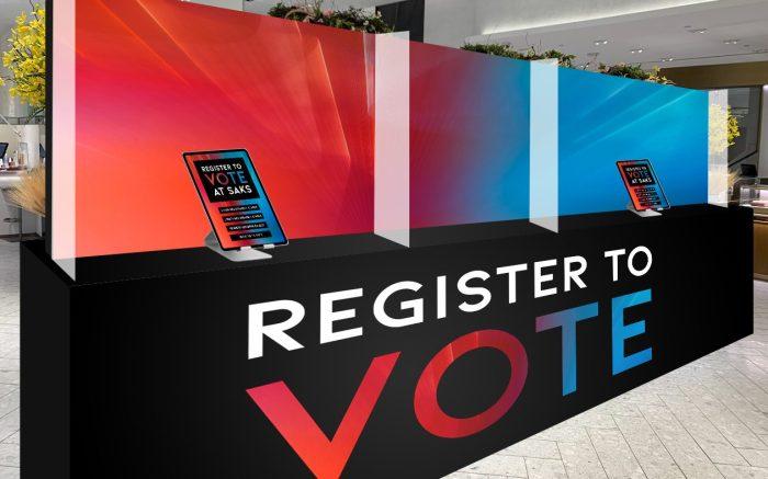 Saks Fifth Avenue voter registration booths