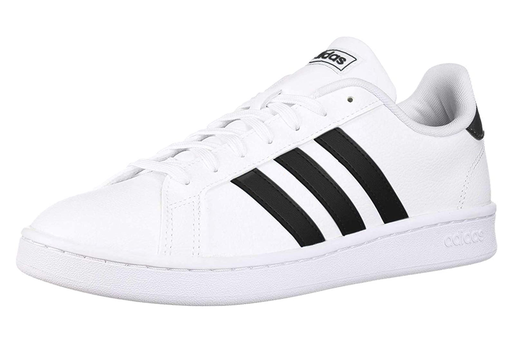 sneakers, black, white, lace-up, adidas