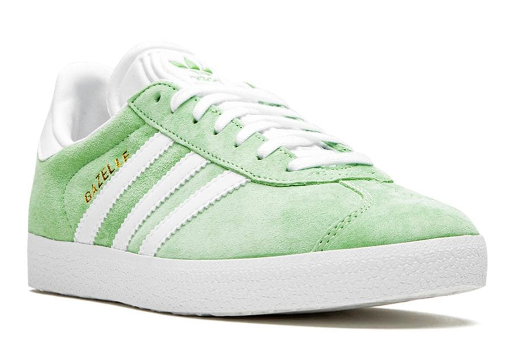 green, sneakers, white, suede, adidas