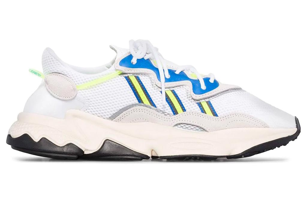 adidas, ozweego, sneakers, white, neon yellow, blue, black, green